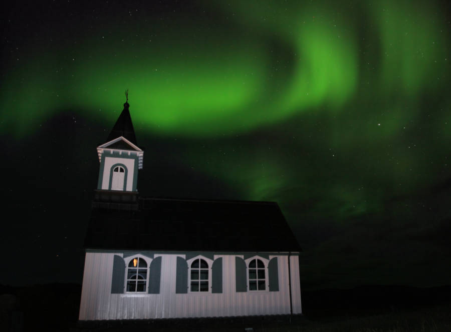 Aurora Over Church