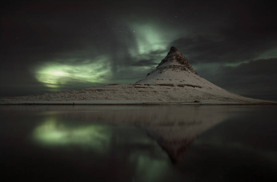 Iceland Northern Lights Over Mountain