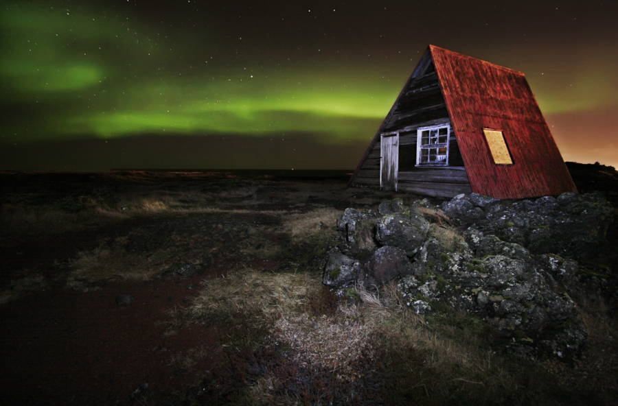 Iceland Northern Lights Over Red Shack