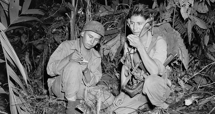 Navajo Code Talkers Working In The Field
