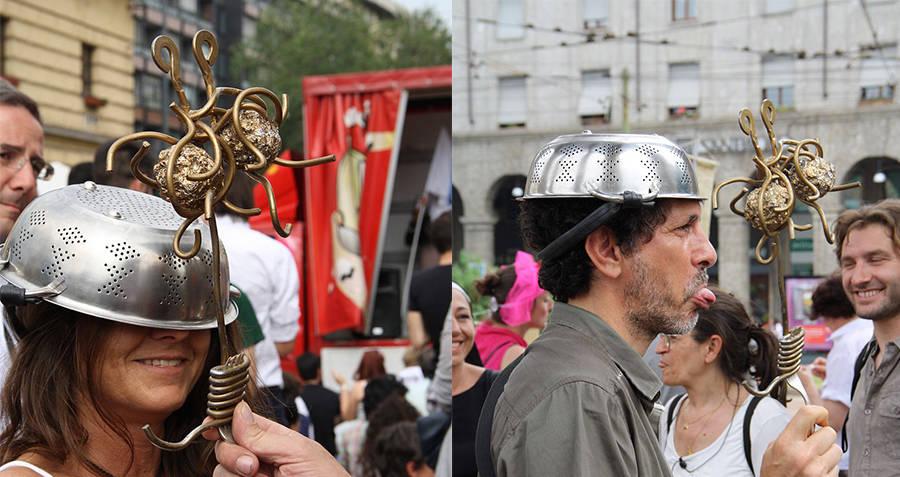 Pastafarianism Wearing Colander Hats