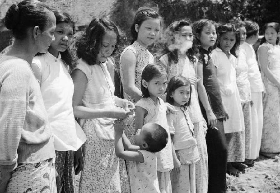 WWII Comfort Women Stand In A Line