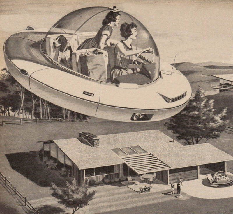 Mother And Daughter Driving A Flying Saucer