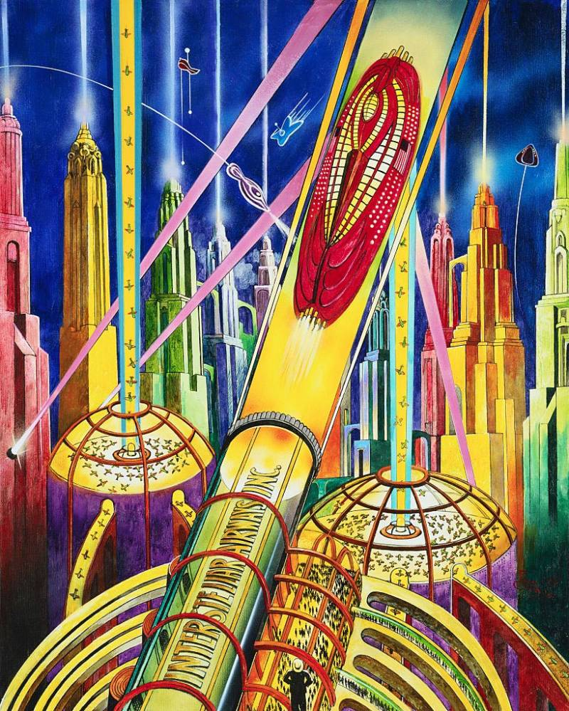 Retrofuturism Transportation Painting