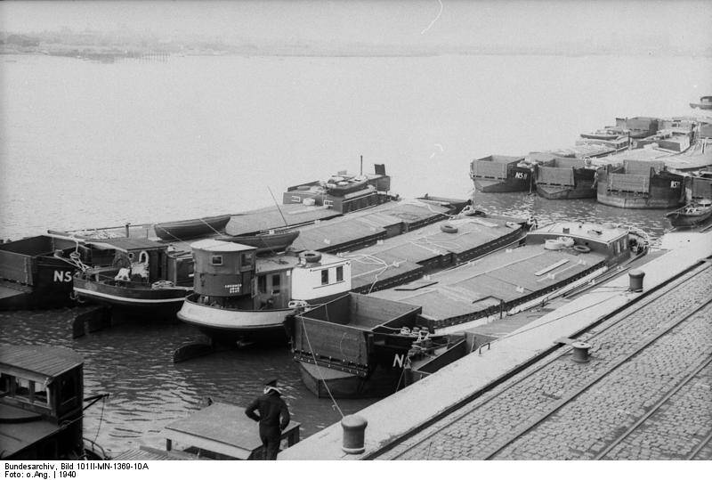 German Invasionn Barges At Wilhelmshaven