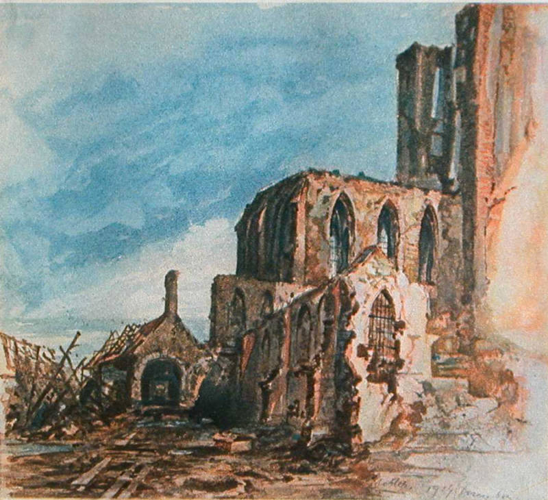 Hitler Ruins of a Cloister in Messines Painting