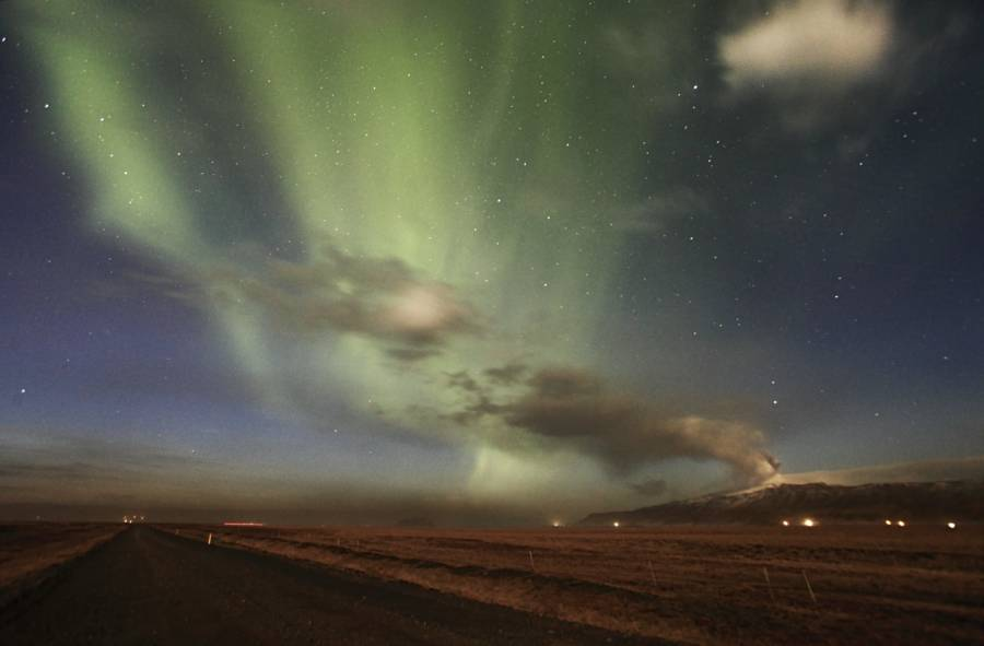 Iceland Northern Lights Over Volcano