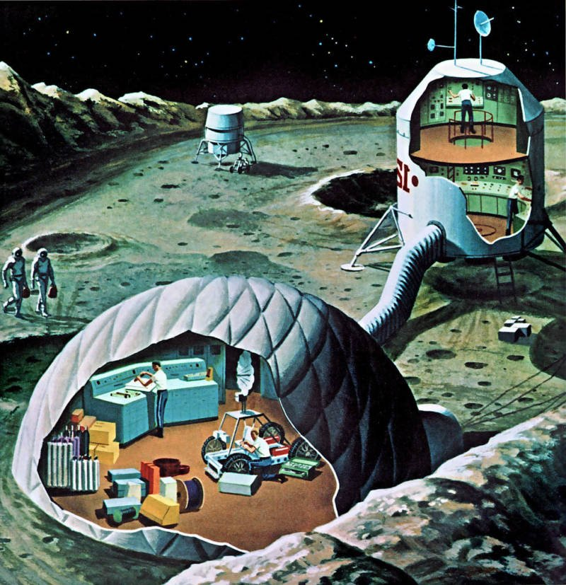Retrofuturism Inflatable Lunar Base