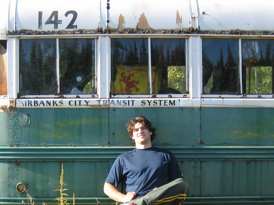 Hiker Takes Photo At Mccandless Bus