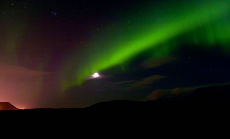 Iceland Northern Lights And Moon