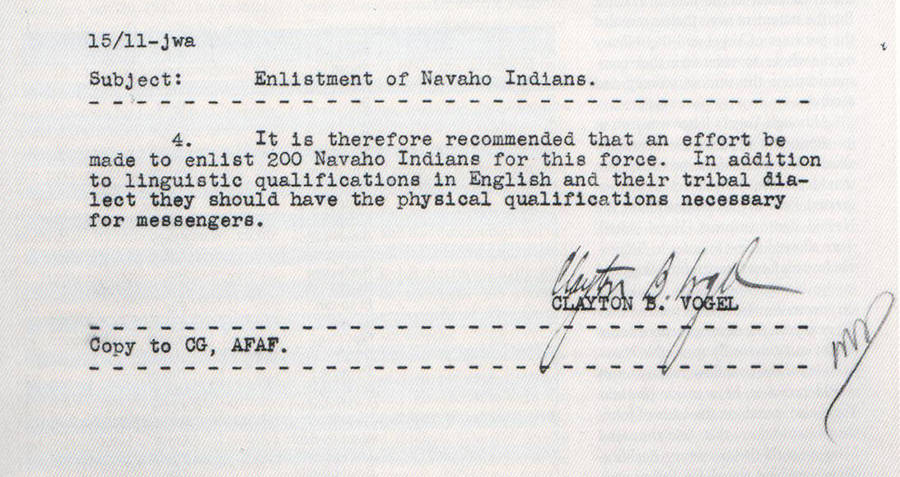 Navajo Enlistment Letter