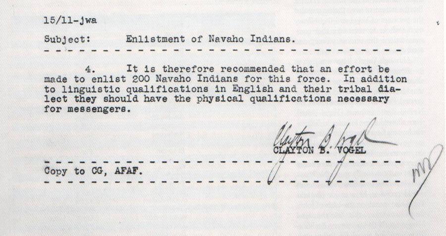 Navajo Enlistment Letter