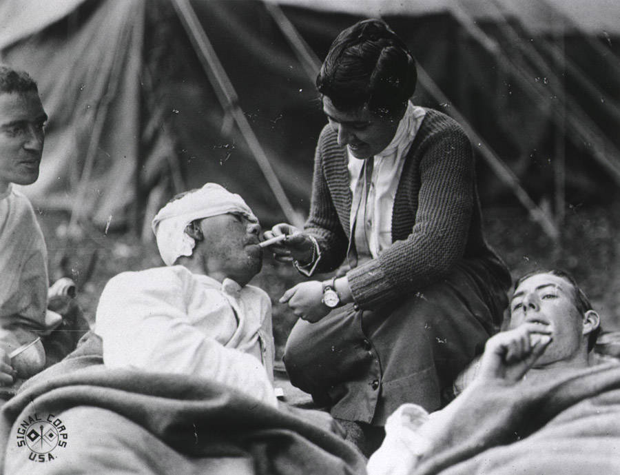 Nurse Lighting Cigarette