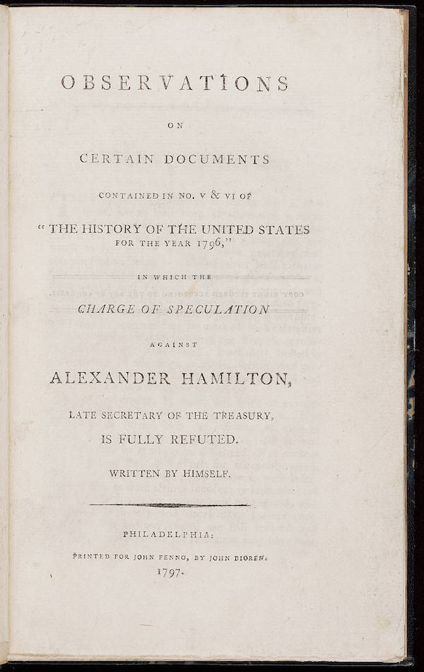 Reynolds Pamphlet About The Hamilton-Reynolds Affair