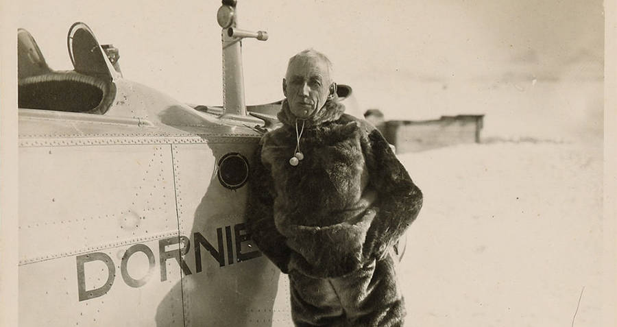 Roald Amundsen And His Airplane