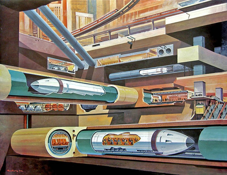 Retrofuturism Tube Trains Under The City