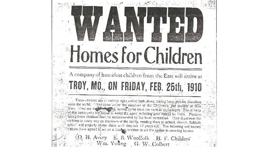 Orphan Train Wanted Ad For Families