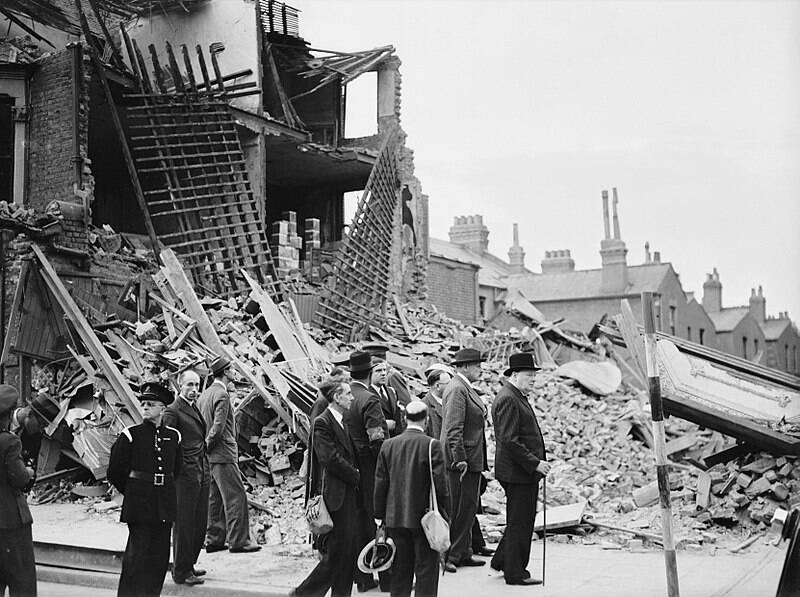 Winston Churchill Visiting Bombed London