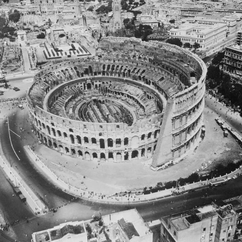 Aerial View Of Colosseum In Rome