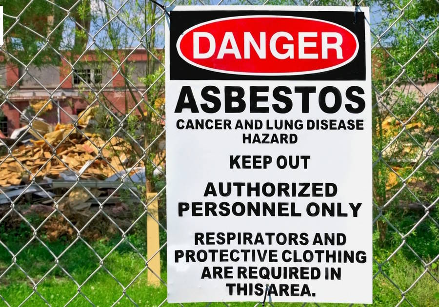 Asbestos Sign On Fence