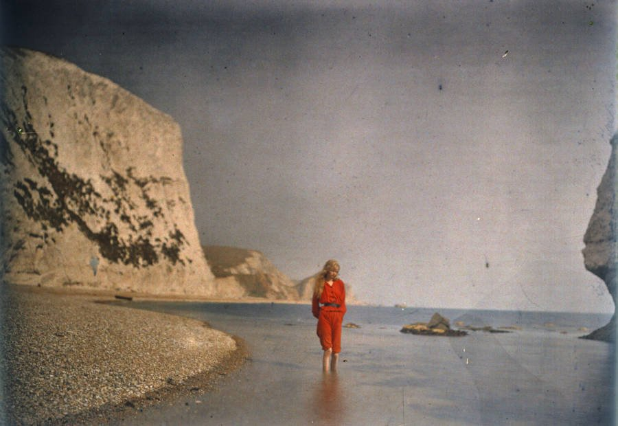 Autochrome Of Woman On Beach