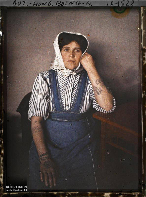 Bosnian Woman Old Color Photos