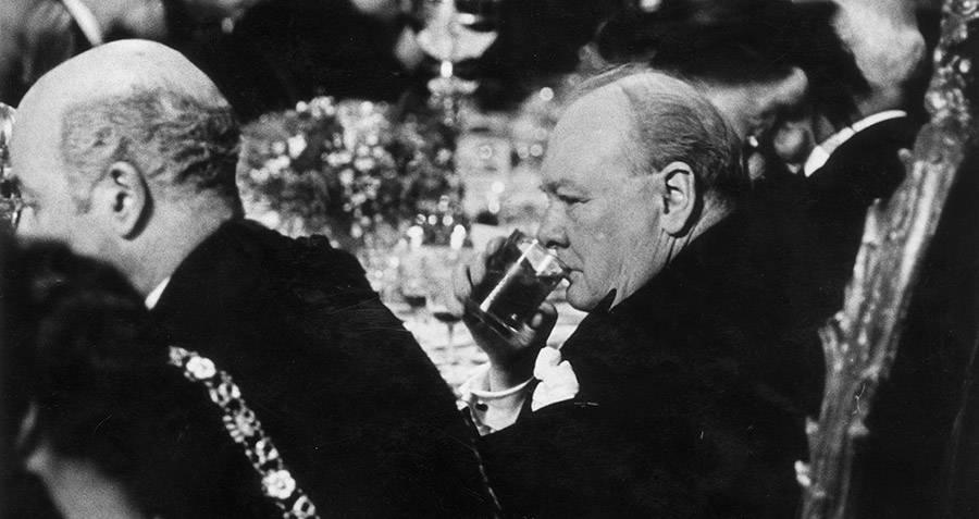 Winston Churchill Drinking At Dinner