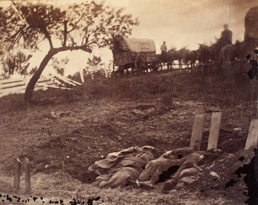 Dead Confederates Awaiting Burial