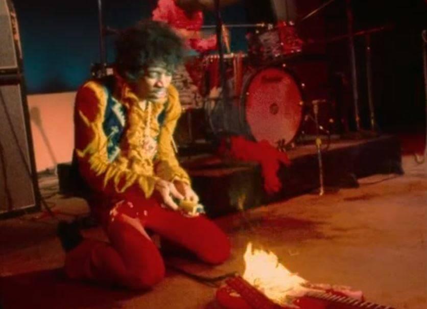 Hendrix Burns Guitar At Monterey