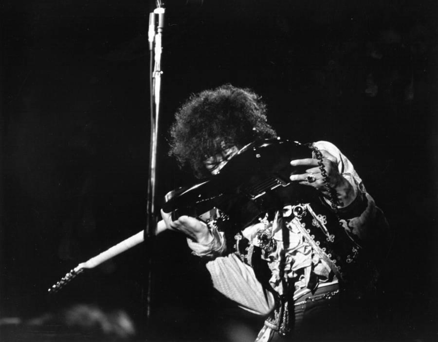 Jimi Hendrix Playing With Teeth