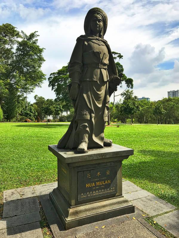 Mulan Statue In A Garden