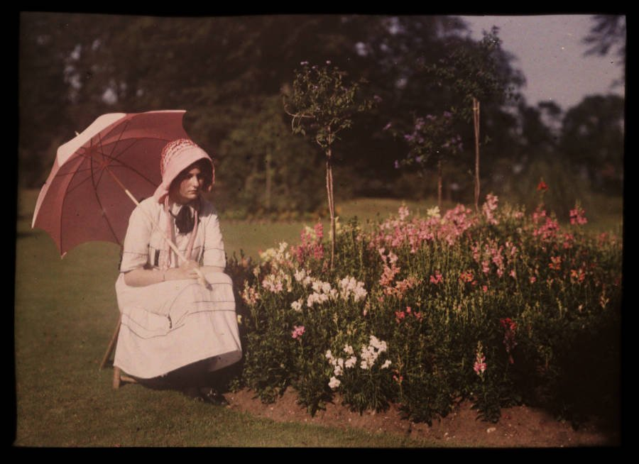 Old Color Photos Pink Parasol