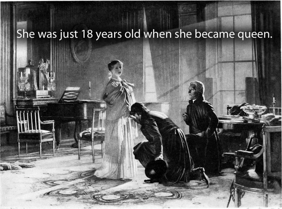 Men Kneeling Before The Queen