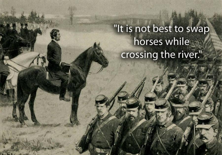 Lincoln Riding Horseback