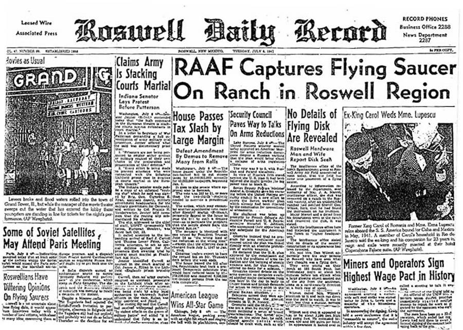 Roswell Report In Newspaper