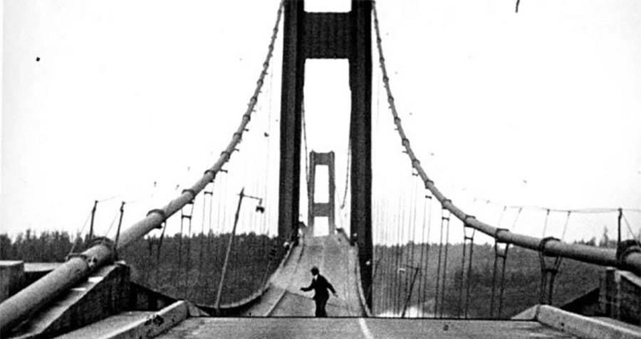 Tacoma Narrows Bridge Collapse With Man Running