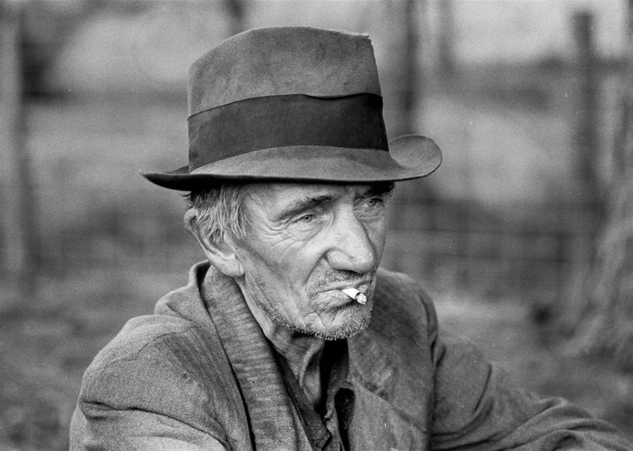 Vintage Old Man Smoking
