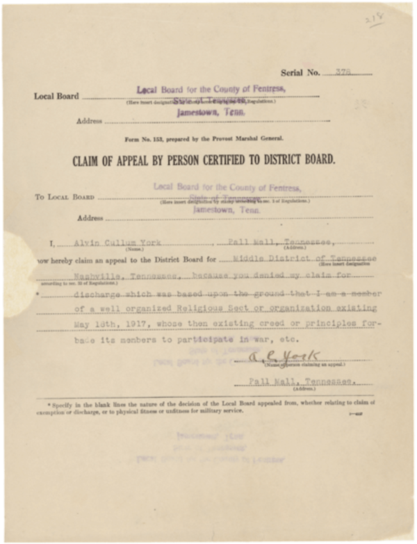 Alvin York Conscientious Objector Claim