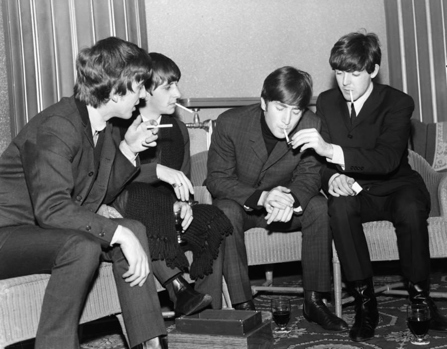 Beatles Smoking Backstage
