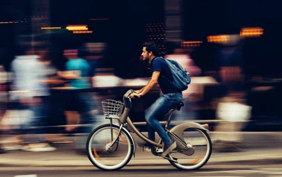 Biking Through City