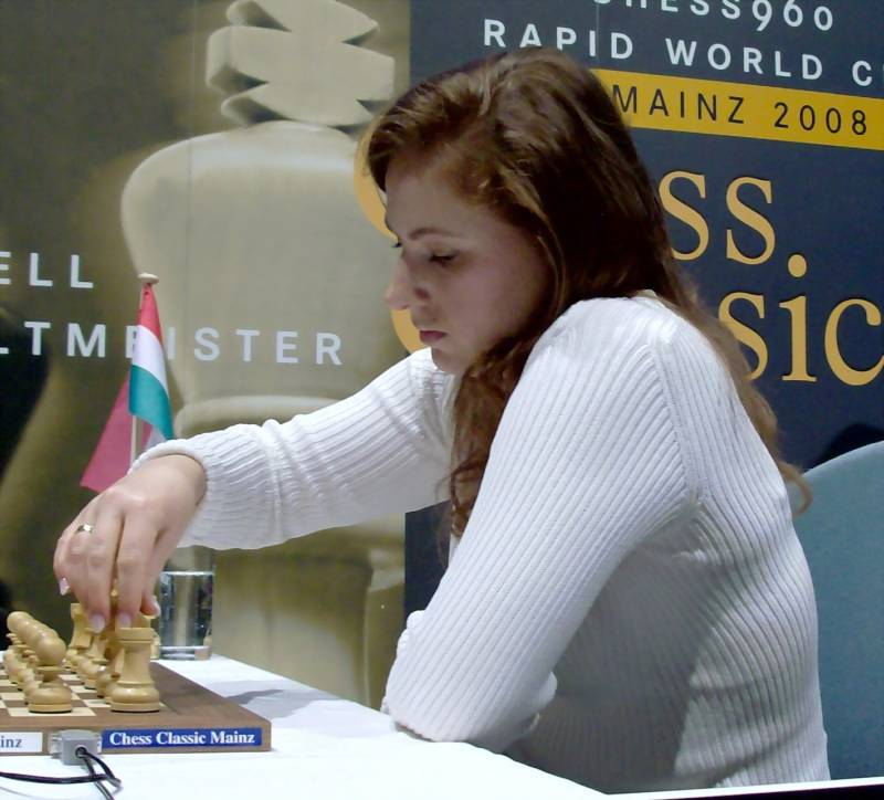 Judit Polgar Playing Chess