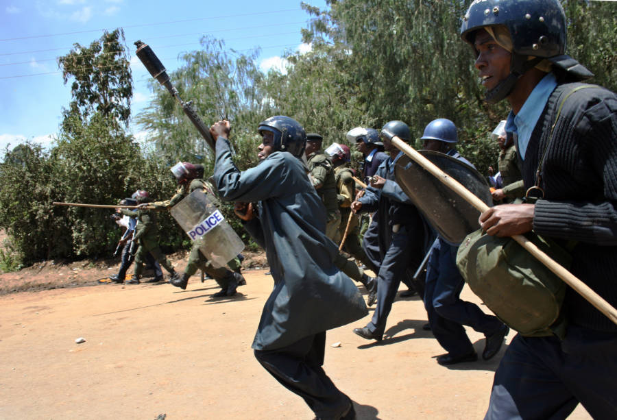 Police Break Up Crowd