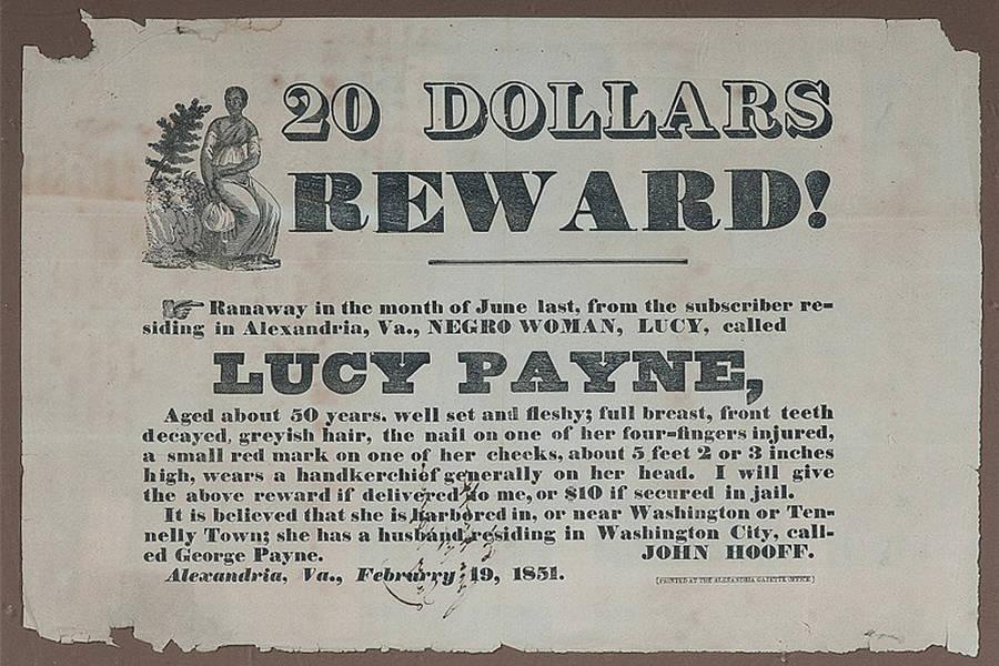 Runaway Slave Reward Poster