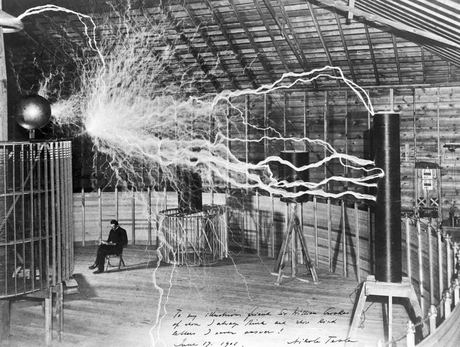 Nikola Tesla Working In His Lab Tesla Death Ray
