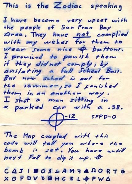 Zodiac Killer Letter