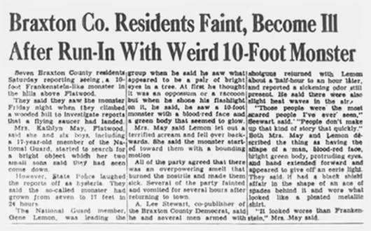 Flatwoods Monster Newspaper Headlines