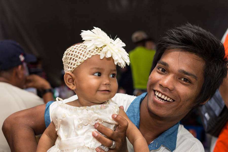 Bajau People Man And Daughter