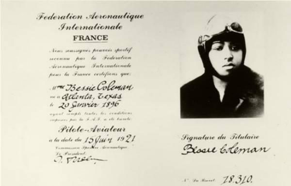 Bessie Coleman Pilot License