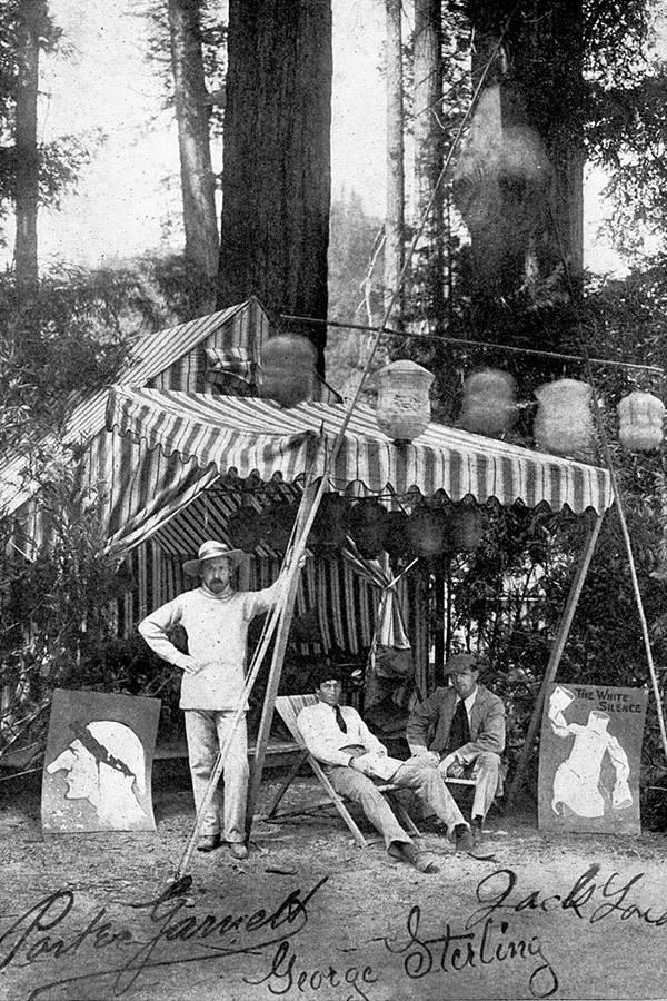 Porter Garnett George Sterling and Jack London At Bohemian Grove