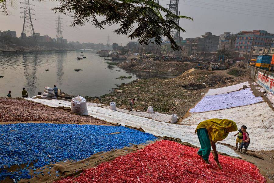 Colored Chips Of Plastic In Buriganga